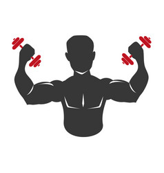 monochrome silhouette muscular man lifting a vector image