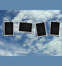 photo frame on rope on sky background vector image vector image
