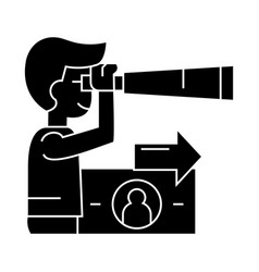 strategic vision planning man with spyglass icon vector image vector image