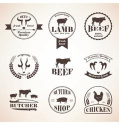 butcher retro emblems and labels set design vector image