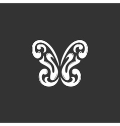 Butterfly logo on black background icon vector image