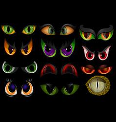 Cartoon eyes beast devil monster animals vector