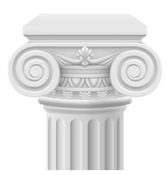 classic ionic column on white background vector image