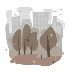 image with houses and trees in autumn vector image