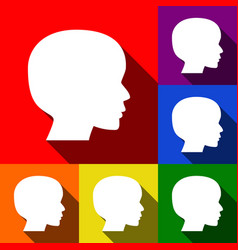 people head sign set of icons with flat vector image vector image