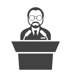 Speaker at rostrum - man in glasses at tribune vector image