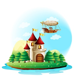 Two kids riding in an aircraft above the castle vector