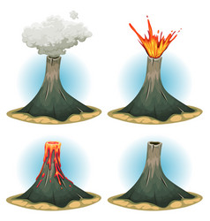 volcano mountains set vector image vector image