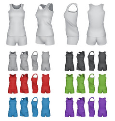 Blank sport top and shorts template set vector
