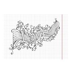heart birth love with rainbow Hand-drawn vector image