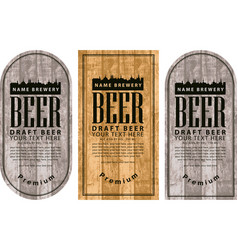 Label beer with the old town on wooden background vector
