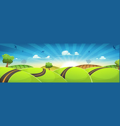 Spring rounded landscape with road and rising sun vector