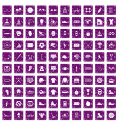 100 sport team icons set grunge purple vector