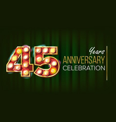 45 years anniversary banner forty-five vector image