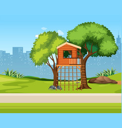 a tree house in nature vector image