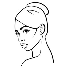 african woman face portrait cartoon black and vector image