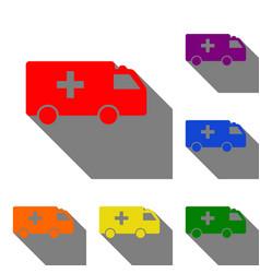 ambulance sign set red orange vector image