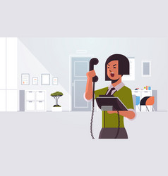 angry businesswoman screaming at phone aggressive vector image