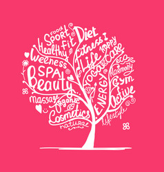 Art tree with healhty lifestyle tags vector
