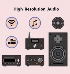 Audio amplifier player speaker and sound symbol vector