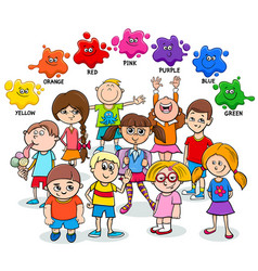Basic colors educational page with happy kids vector