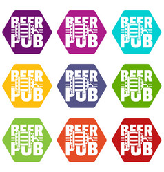 beer pub icons set 9 vector image