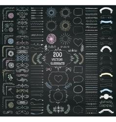 Big set decorative hand drawn design vector