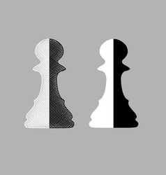 black and white chess pawns vector image