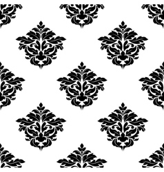 Black and white foliate motif seamless pattern vector image