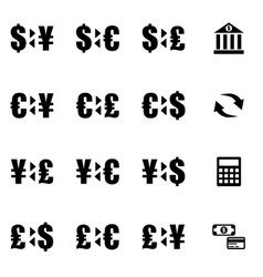 Black bank icon set vector