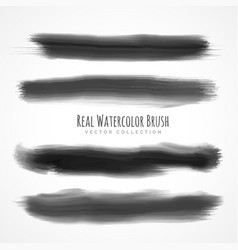Black real watercolor brushes set vector