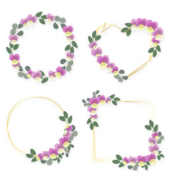 blooming viola or pansy flower wreath with golden vector image