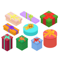 bright colorful present and gift boxes set vector image