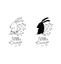 bunny rabbit monochrome symbol logo design vector image