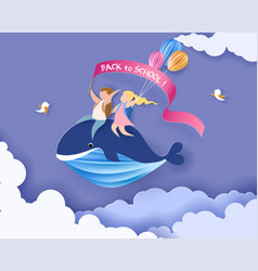 Card with kids sitting on whale flying in sky vector