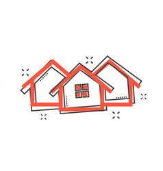 Cartoon house icon in comic style home pictogram vector