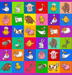 Cartoon pattern design with farm animals vector