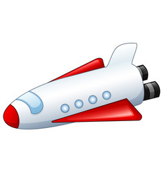 Cartoon spaceship isolated white background vector