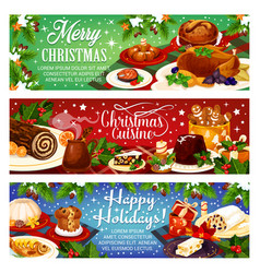 christmas dinner greeting banners vector image