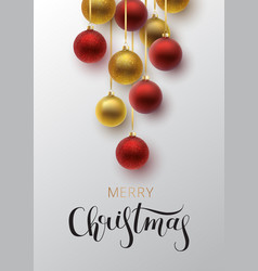 christmas greeting card gold and red christmas vector image