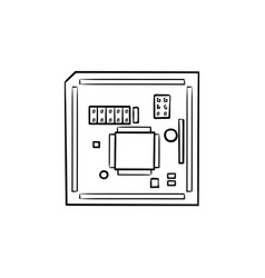 circuit board hand drawn outline doodle icon vector image