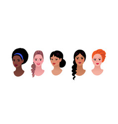 Collection multiethnic female profile pictures vector