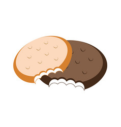 Colorful set bite cookies icon food vector