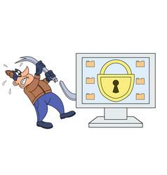 computer thief has broken his crowbar vector image