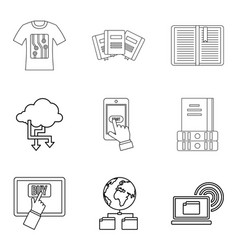 copying document icons set outline style vector image