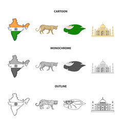 country india cartoonoutlinemonochrome icons in vector image