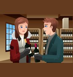 Couple buying wine vector