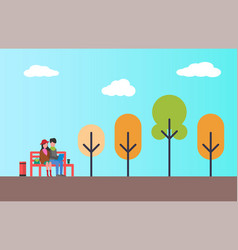 couple sitting in autumn park on bench with vector image