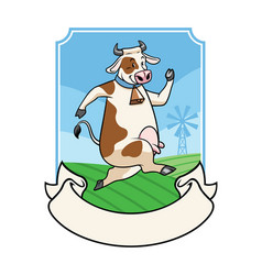 cow with curved ribbon banner vector image