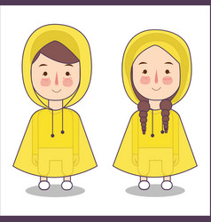 cute little girl and boys playing wearing rain vector image